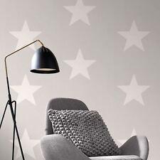 Rasch Large White Star Grey Wallpaper 248128
