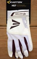 NEW Easton HS7 Batting Gloves Men's XS White/Maroon FAST FREE SHIPPING
