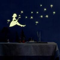 Glow in the Dark Wall Decal Stickers Waterproof Dandelion Girl Bedroom DIY