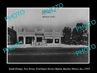 OLD LARGE HISTORIC PHOTO OF SOUTH ORANGE NEW JERSEY, FORD GAS STATION c1935