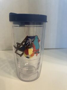 Tervis Tumbler Beach Scene With Chair Towel Ball Lid Included 16 Oz Size