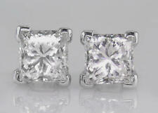 Diamond Solitaire Studs 2.00ct Certified D IF VG Princess Cut in Solid Platinum
