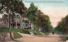 Postcard Metropolitan Avenue + Church Street Richmond Hill Long Island NY