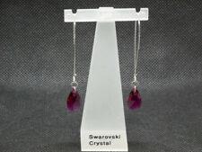 Earrings - Handmade by me Sterling Silver Long Swarovski Ruby Drop