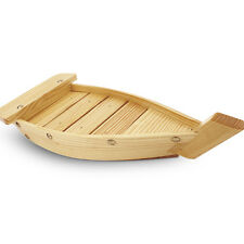 New! Wood Wooden Sushi Boat Serving Display Tray Plate for Home Restaurant Use