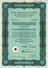 Klein Schanzlin Becker 1961 KSB Frankenthal Pegnitz Nürnberg 100 DM Vorzugsaktie