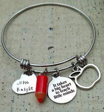 Teacher gift Personalized name Custom Charm wire Bracelet Preschool Daycare