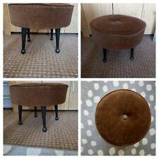 VINTAGE 1950s - Retro Brown Velour Footstool Pouffe Padded Seat Dark Wooden Legs