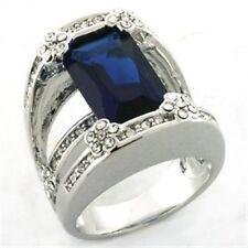 Rhodium Plated Blue Costume Rings