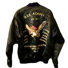 More details for vintage military / navy uss acadia souvenir bomber jacket, west pac