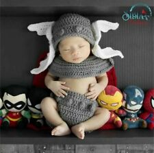 Crochet Newborn Photography Prop Knitted Superhero Thor Photo Shoot Costume Set