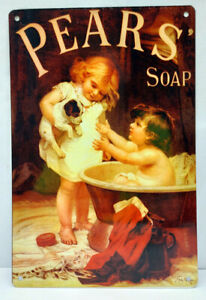 """Famous Pears Soap Metal Sign """"The Bath – His Turn Next"""" Soap Soap Sign"""