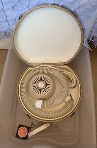 GE General Electric Vintage Soft Bonnet Hairdryer Hard White Case With Tags