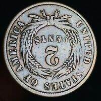 1864 Two Cent Piece 2C ROTATED REVERSE Good Civil War Date US Copper Coin CC5818