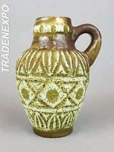 '60s-'70s Vintage BAY KERAMIK Handled Vase 93-17 West German Pottery Fat Lava