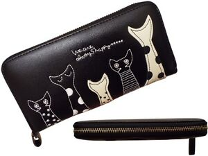 Girls Black Pink Cat Clutch Purse Synthetic Leather Metal Zip Coin Holder