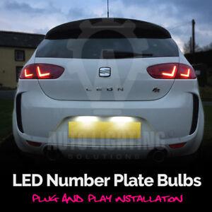 For Seat Leon MK1 MK2 CUPRA FR 1999-2012 White LED Number Plate Light Bulbs