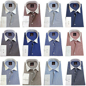 RICHBERRY Men's Shirts Striped cotton Contrast collar Formal Casual Long sleeve