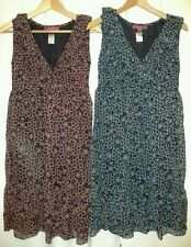 New Monsoon Black Blue OR Red Chiffon Dress 8 10 12 Top Tunic Smock Sleeveless