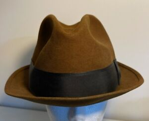 Sam Snead The Wedge By Mallory Mens Fedora Hat Brown Black Fitted Vintage 7 1/8