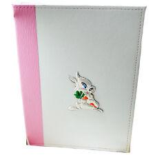 Album foto per nascita battesimo 30x22 in pelle bianco-rosa con coniglietto