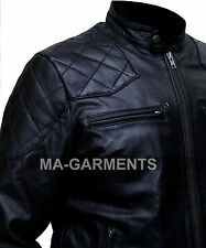 David Beckham Cowhide Biker Real Leather Jacket Vintage Look - Free Shipping.
