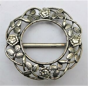NO RESERVE LARGE HM 1993 OLA GORIE STERLING SILVER SCARF BROOCH