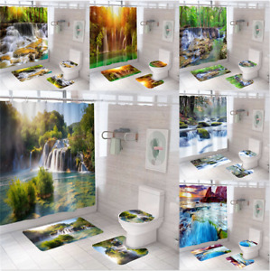 Waterfall Natural Extra Long Art Shower Curtain Waterproof Polyester Fabric