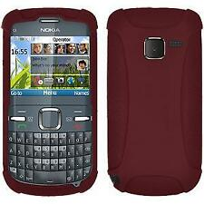 AMZER Silicone Soft Skin Jelly Fit Case Cover for Nokia C3 - Maroon Red