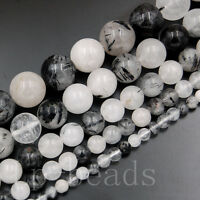 Natural Gemstone Black Tourmaline Quartz Round Beads 4mm 6mm 8mm 10mm 12mm 15.5""