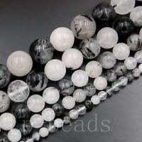 "Natural Gemstone Black Tourmaline Quartz Round Beads 4mm 6mm 8mm 10mm 12mm 15.5"""