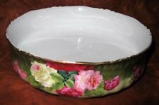 ANTIQUE HP FERNER PUDDING BOWL ROSES ENAMELED BAVARIA ARTIST SIGNED J. BRAUN