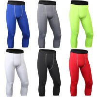 Men's Compression Leggings Sport Running 3/4 Crop Base Layers Tight Fit Pants US