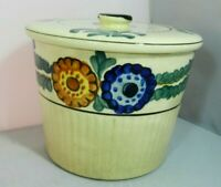 Vintage Ceramic Biscuit Cookie Jar Lidded Crock Floral Made in Japan