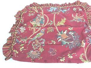 "Euro Pillow Sham Red Yellow Green Floral Stripe Bird 25 Sq"" Ruffled Pakistan (1)"