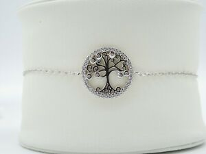 Genuine Sterling Silver 925 Tree of Life Round Pendant Chain Bracelet Gift Boxed