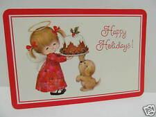 Vtg.Hallmark Holidays/Christmas Postcard-Angel Girl w/ Halo/Wings/Cake/Puppy Dog