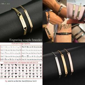 Nextvance Customized Engraving Nameplate Couple Bracelet Stainless Steel Chain I