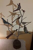 Daniel Strawser Hand Carved Pennsylvania Folk Art Bird Tree c.1984