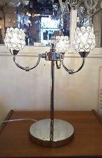 CANDELABRA Polished Chrome 3 Light LED chic Table Lamp LEAD CRYSTAL lamp shades