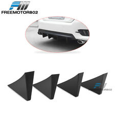 Universal Fit Rear Bumper Lip Diffuser Shark Fins Black 4Pc - ABS