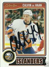 Calvin De Haan Signed Auto 2014 O-Pee-Chee New York Islanders Card - COA - NHL