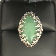 Vintage Carved 7.26 Ct Natural Oval Jade Ring Woman Wedding Jewelry
