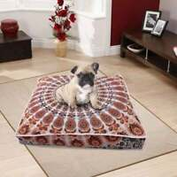 "Indian 35"" Orange Peacock Mandala Square Floor Pillow Case Cushion Cover Dog Bed"