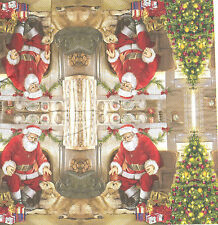 3 Mouchoirs en papier Père Noël Chien Cadeaux Paper Hankies Welcome father Xmas