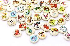 Animal Wood Button Mix Lots Tiger Dog Lion Fish Children Baby DIY 15mm 20pcs