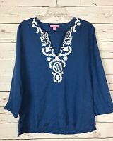 Lilly Pulitzer Blue White Embroidered Linen Tunic Top Shirt Women's S Small $138