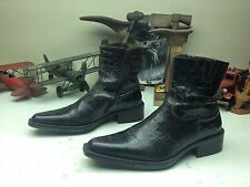 ALLIGATOR PRINT DA'VINCI BLACK CHERRY LEATHER ZIP UP ENGINEER BOSS BOOTS 10-43