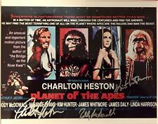 PLANET OF THE APES: C.Heston K.Hunter R.McDowall Autographed Lobby Card W/ COA.