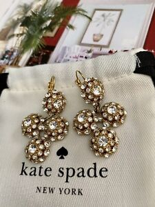 """KATE SPADE NY """"PUTTING ON THE RITZ"""" CRYSTAL CHANDELIER EARRINGS PAVE GOLD"""